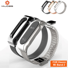 Mijobs Metal Strap For Xiaomi Mi Band 2 Screwless Stainless Steel Bracelet MiBand Replace Accessories