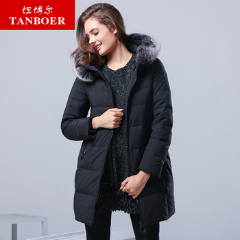 TANBOER 2018 winter new Slim long down jacket women hooded thick down jacket TB17568