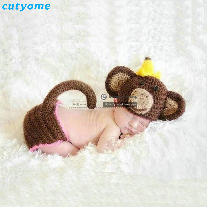 Cutyome New 2018 Crochet Costume Baby Handmade Knitted Newborn Props For Photography Cartoon Monkey Hat+pants Set Accessories