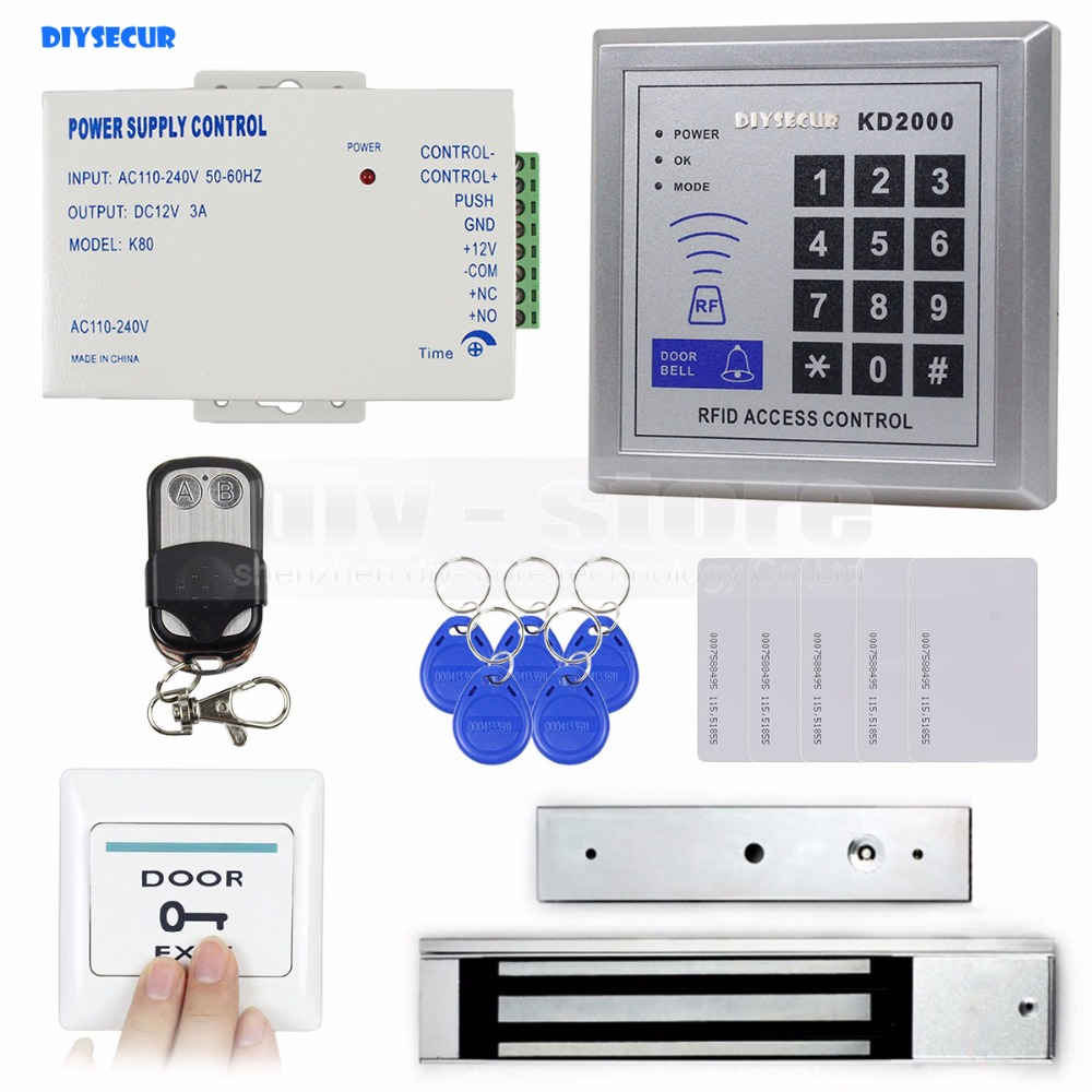 DIYSECUR Remote Control Full Complete Rfid Card Door Access Control Kit + 280KG Electromagnetic Lock for Home Improvement diysecur magnetic lock door lock 125khz rfid password keypad access control system security kit for home office