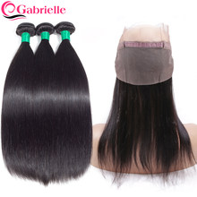 Gabrielle Brazilian Straight Hair Bundles with 360 Lace Frontal Natural Color Non Remy Human Hair Weave Bundles with Closure(China)