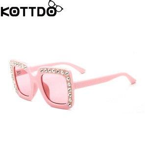 KOTTDO luxury Rhinestone Kids Sunglasses Square Sun Glasses Children Baby Sunglasses Boys Girls Okulary Oculos De Sol Feminino(China)