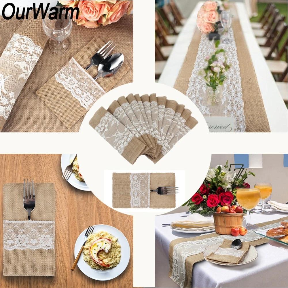 OurWarm Boho Rustic Wedding Decor Invitation Card Table Runner Tablecloth  Chair Burlap Back Cover DIY Wedding Table Decoration Party DIY Decorations   - AliExpress