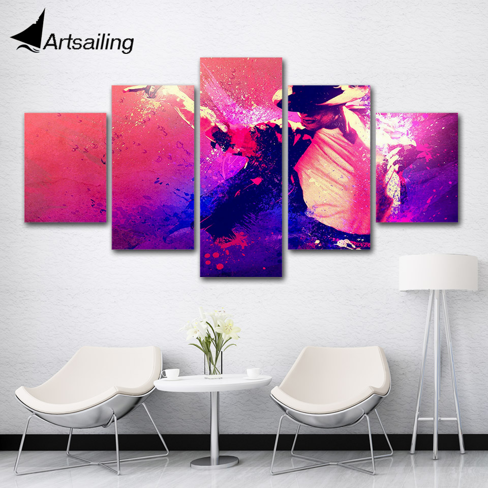 5 pieces Famous Singer Machel Jackson painting Wall Art Picture Gift Home Decoration Canvas Print