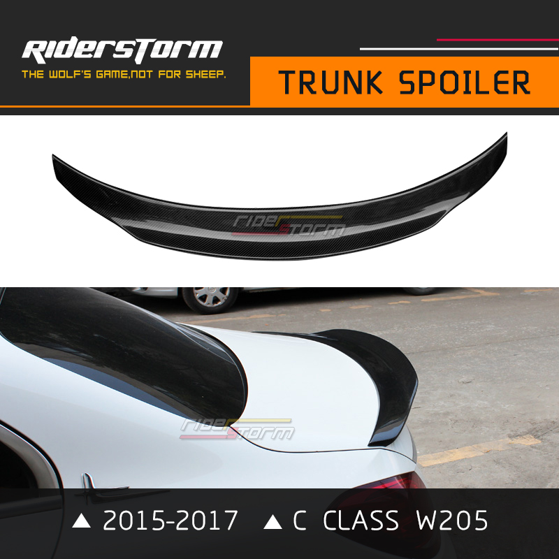 PSM Style W205 Sedan 4 Door Carbon Rear Spoiler Trunk Decktail Wing Bootlid Lip for Mercedes C Class C180 C200 C250 2015-2017 bjmycyy stainless steel exhause air filter 2 to 4 cover car accessories for mercedes benz c class sedan w205 c200 c180 2015 2016