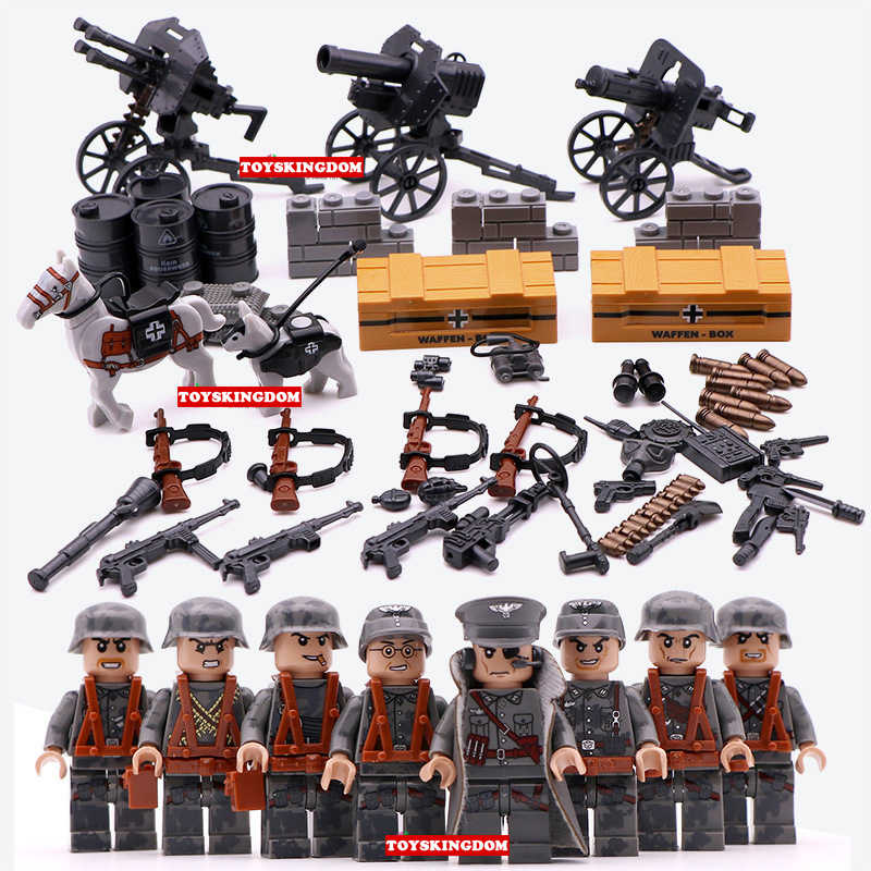 WW2 germany army Blitz assault figures building block world war forces  horse brickmania minifigs artillery weapon bricks toys