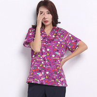 100% Cotton Fashion Print Scrub Tops Medical Shirt Doctors Nurses Surgical Tops Short Sleeve V neck Lab Coat Dental Clinic Tops