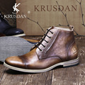 KRUSDAN Brand 2016 Autumn Winter Vintage Martin Boots Top Quality Men Leather Oxfords Retro Old Western Boots Botas Hombre
