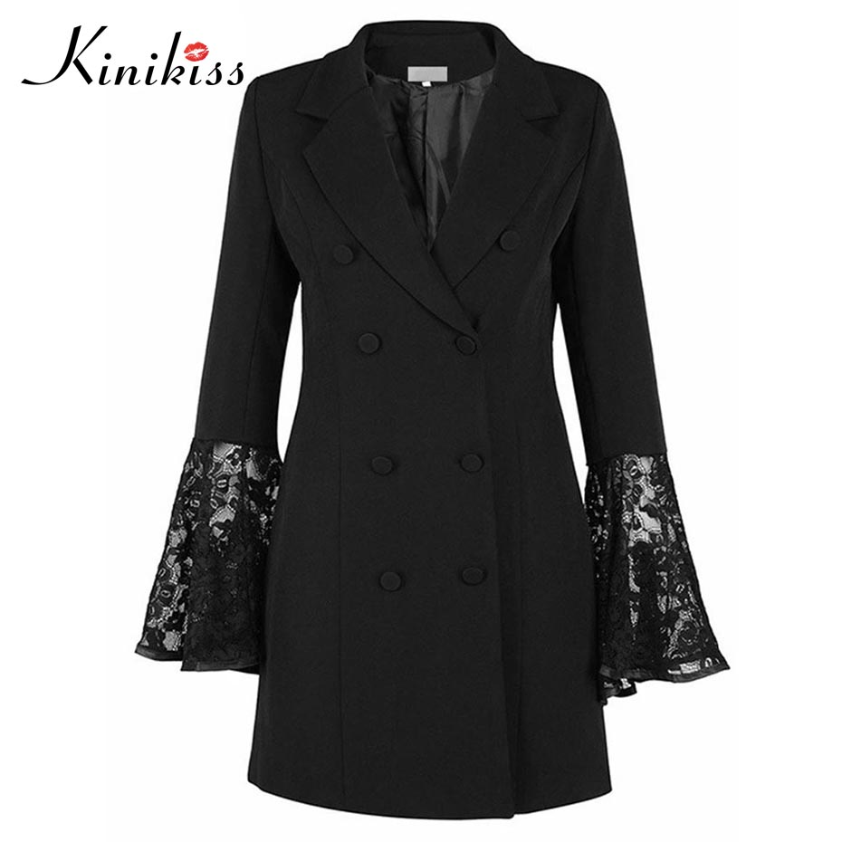 Kinikiss femmes automne manteau mi-long sexy slim dentelle manteau mode cranté revers patchwork à manches longues flare solide femmes manteaux