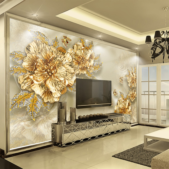 Custom 3D Wall Murals Wallpaper Non woven Papel De Parede 3D Golden ...
