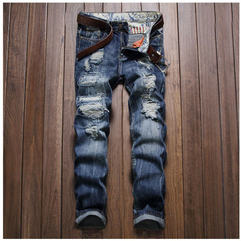Men Designer Casual Hole Ripped Jeans New Fashion Vintage Men's Denim Pants Straight Slim Trousers Biker Washed Jeans Size 38 2017 fashion patch jeans men slim straight denim jeans ripped trousers new famous brand biker jeans logo mens zipper jeans 604