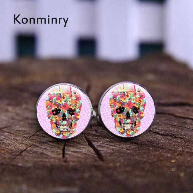Punk Flower Sugar Skeleton Cufflinks Handmade Colors Skull Glass Dome Metal Cuff Links Jewelry Konminry