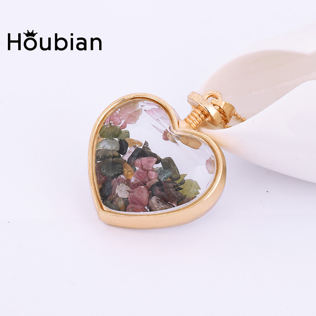 HouBian New Natural Fluorite Beads Chip Clear Glass Heart shaped