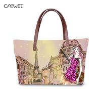 Women Shopping Handbags 3D Cartoon Printing Large Capacity Tote Shoulder Bags City Hand painted Handle Bag for Famale Travel