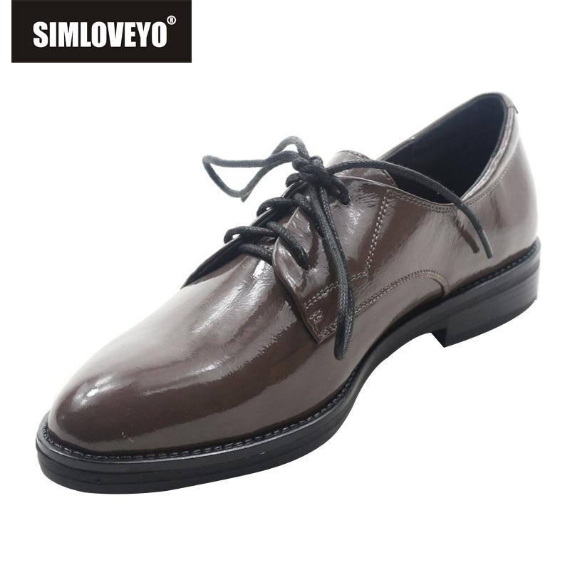 Femme En Appartements Sapatos Solide Simloveyo Chaussures Plates Cuir Bout Grey Respirant Pointu Dr8431086 Femmes Dentelle up Véritable jRL34A5