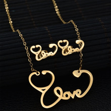 2017 New Love Letter Stethoscope Stud Earrings Necklaces Set for Women 3 Colors Stainless Steel Jewelry Sets Love Heart Bijoux