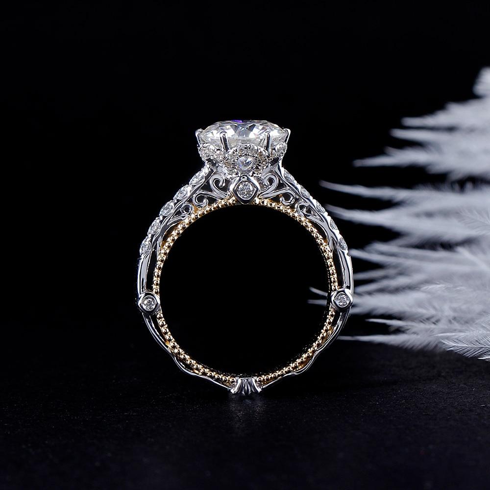 a6475e1983d7 AEAW 14 K oro blanco 2.5ctw EF Moissanite anillo de compromiso laboratorio  crecido diamante anillo