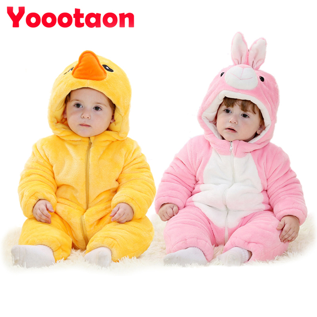 KAWAII brand Winter thickening Baby rompers clothes Cartoon Animal Jumpsuit newborn baby boy and girl Outerwear Flannel clothing