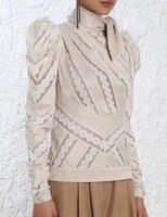 Для женщин водолазка с рисунком свитер с длинными рукавами пышные плечи шарф декольте Обнаженная неукротимая панели chevron Топ из хлопка
