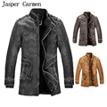 Free Shipping New 2017 Winter Male Fur Stand Collar Thickening  Lether Jackets Leather Coat ,medium length size 130