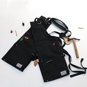 Image 5 - Weeyi resistente preto encerado lona oficina avental homem com bolsos cruz voltar cinta para marceneiro sapateiro barbeiro pequeno a xxl