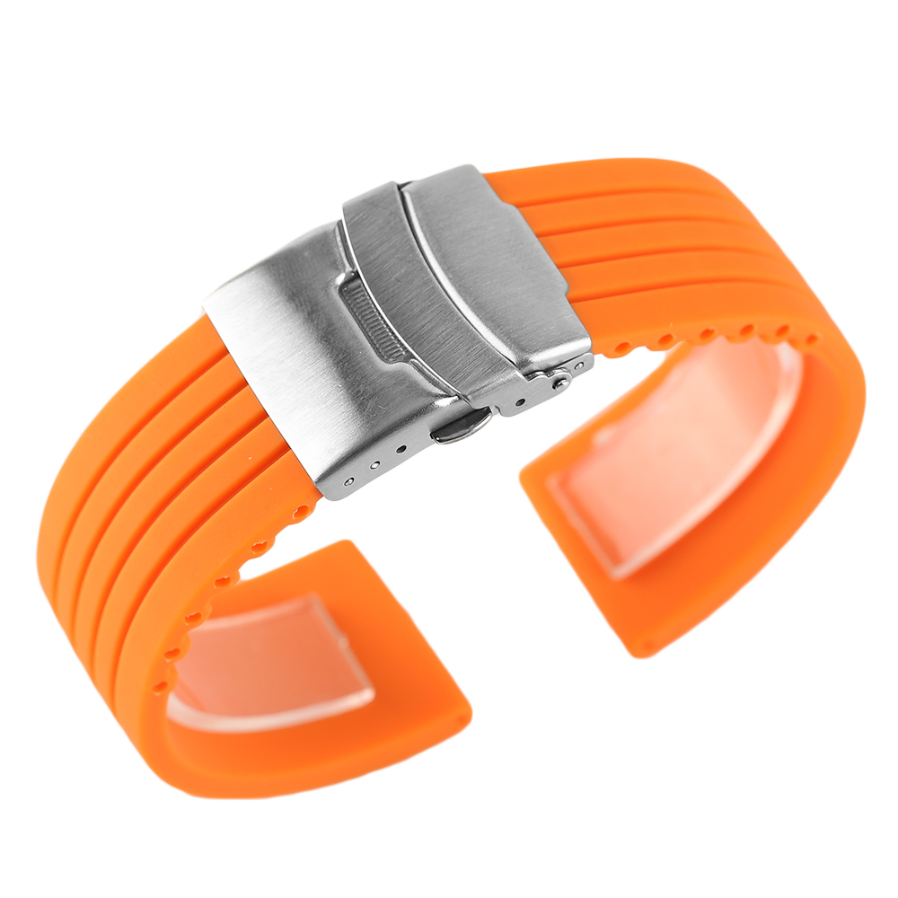 Silicone 20/22/24mm Soft Orange Replacement Bracelet High Quality Waterproof Watch Strap Band Folding Clasp with Safety high quality 20 22 24mm military nylon army green soft belt bracelet replacement pin buckle sport outdoor watch strap band