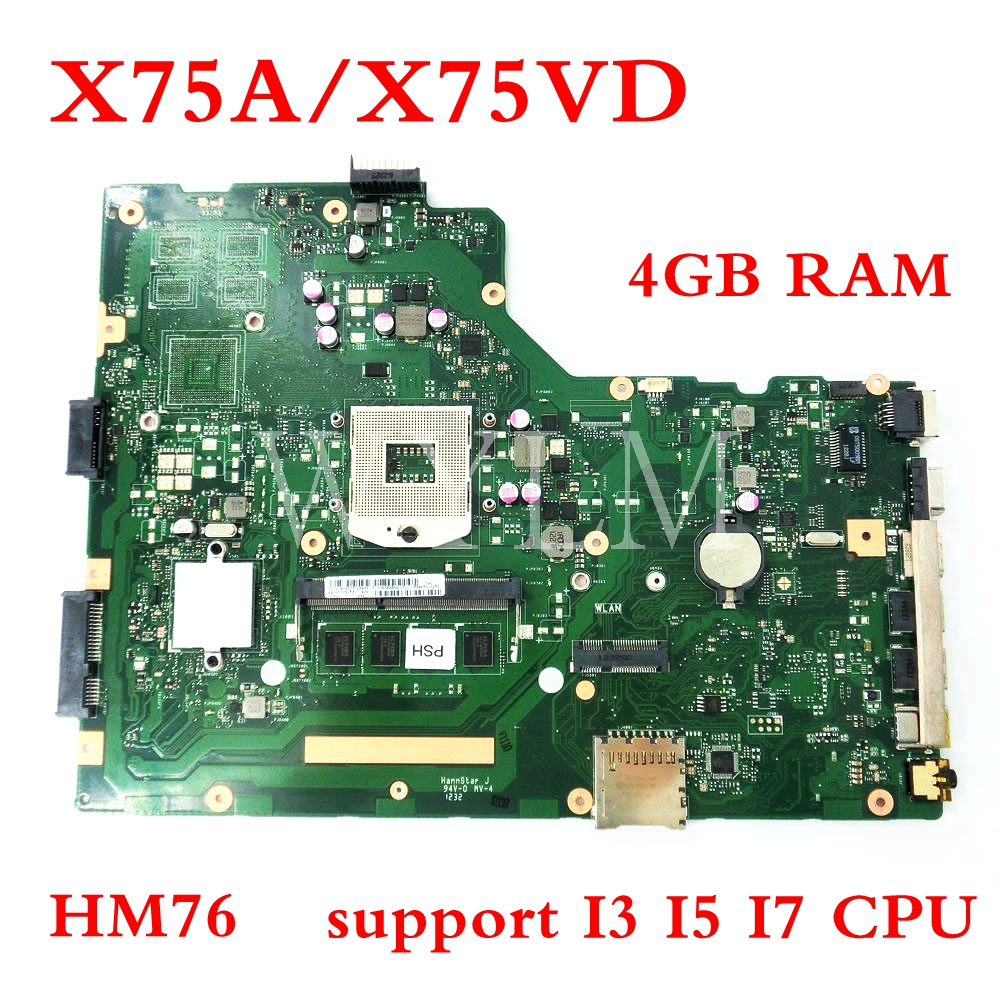 For ASUS X55VD REV 2.2// REV 2.1 Motherboard GT610M MainBoard HM76 2GB S989 Test