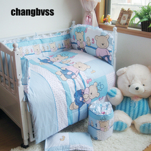Comfortable Nursery Baby Cot Bedding Set Newborn Cartoon Bear Crib Bedding Detachable Quilt Pillow Bumpers Sheet Cot Bed Linen