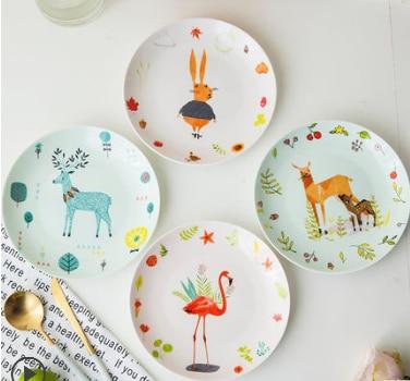 Lovely Ceramic Dinner Plates Cartoon Children 39 s Creative Breakfast Plate Dessert Salad Snack Cake Plates 8 inch Tableware Z569 in Dishes amp Plates from Home amp Garden