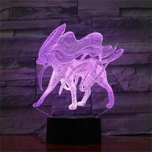 Pokemon 3d Nightlight Usb powered 7 color Moderne Desk Lamp Touch Led Visual Light Gift Atmosphere Decorative Table Lamp(China)