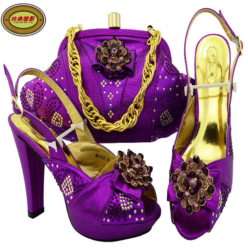 MM1052 Most Popular African Rhinestone Wedding High Heels Shoes And Bag Set Latest European Ladies Shoes And Bags Sets