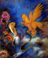 Ручная роспись Домашний Декор холсте маслом Роджер и Анжелика, 1910 by одилон редон известный стены Книги по искусству symblism высокое качество