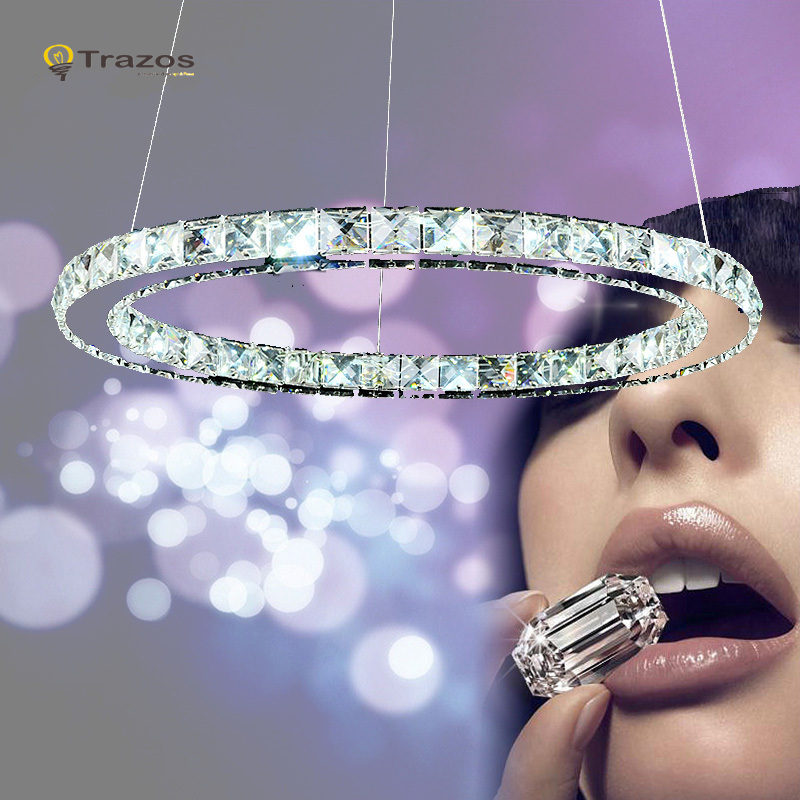 Modern Chrome Chandelier Crystals <font><b>Diamond</b></font> Ring LED Lamp Stainless Steel Hanging Light Fixtures Adjustable Cristal LED Lustre