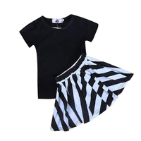 2 cái bé gái quần áo t-shirt + sọc váy bộ phong cách châu âu trẻ em mùa hè cotton dress trang phục quần áo trẻ em b