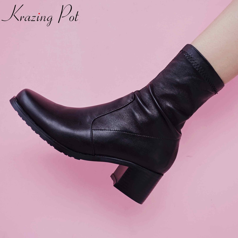 Krazing Pot 2018 runway style winter recommend big size stretch boots brand shoes thick heel round toe warm mid-calf boots L31