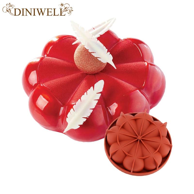 1 PCS şərab qırmızı silikon 3D nizamsız ləçəklər Mousse tort üçün puding dondurma çörək branie çörək bişirmə alətləri üçün formalı