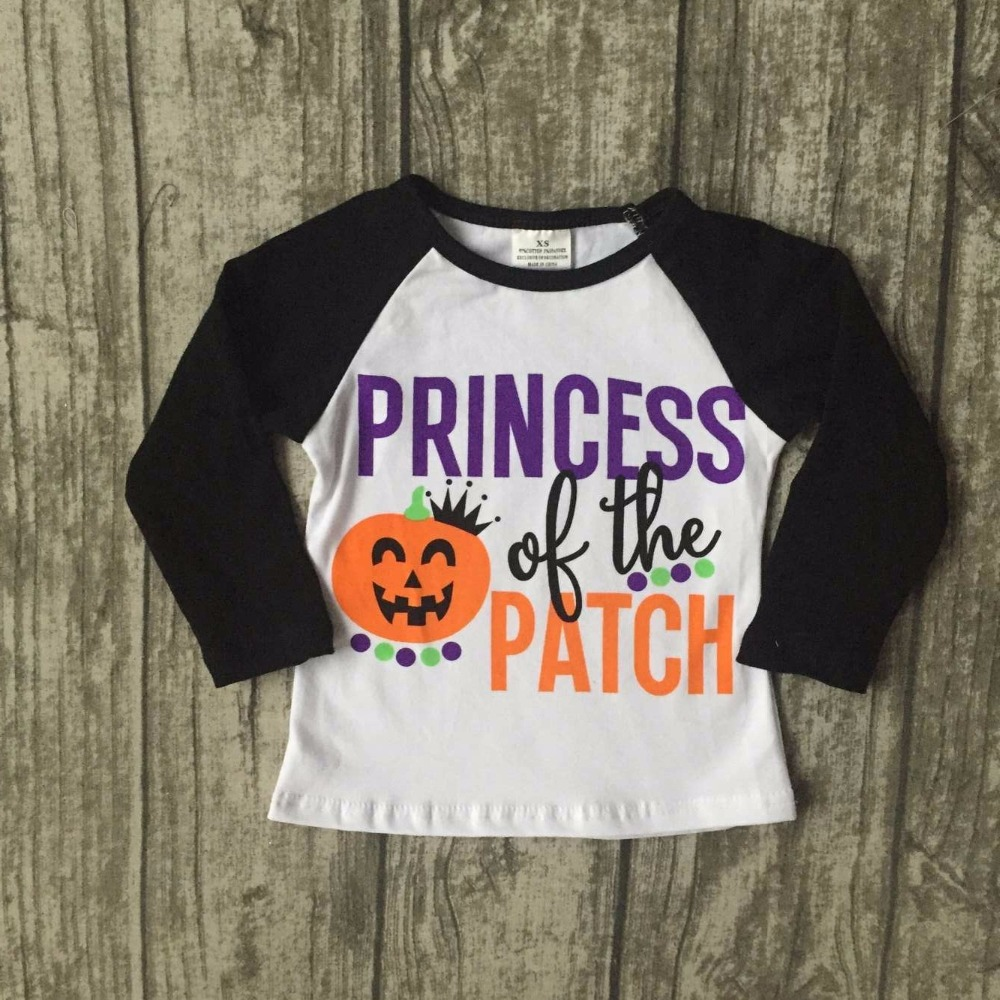 new Halloween baby girls princess of the patch boutique top shirts t-shirt clothes black white cotton pumpkin raglans kids wear charter club 2738 new womens white cotton henley top shirt petites ps bhfo
