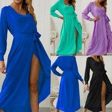 Womens Sexy Summer Boho Maxi Long Dress Party Beach Dresses V Neck Long Sleeve Sundress Solid Sashes 2019 Vestidos Robe Femme цена
