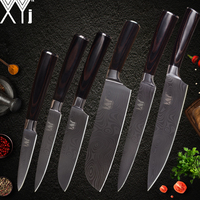XYj Stainless Steel   Kitchen     Knife   Damascus Veins High Carbon Chef Slicing Santoku Utility Paring   Knife   Cooking Tools   Accessories
