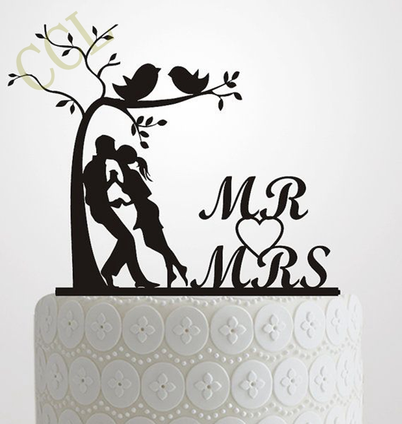 Wedding Cake Topper Silhouette Bride and Groom, Elegante e romantico MR & MRS With Tree and birds Cake Topper idea matrimonio