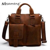 NBSAMENG 2018 Genuine Cowhide Leather Shoulder Bags New Casual Crazy Horse Handbags Men Messenger Bags Business