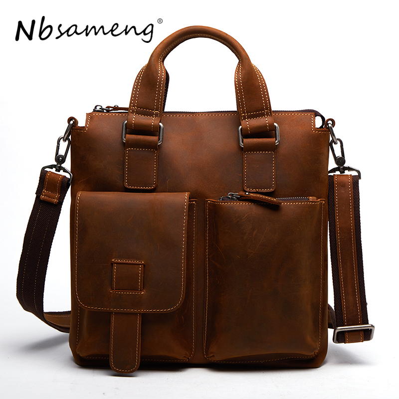 NBSAMENG 2018 Genuine Cowhide Leather Shoulder Bags New Casual Crazy Horse Handbags Men Messenger Bags Business Briefcase Tote padieoe men s genuine leather briefcase famous brand business cowhide leather men messenger bag casual handbags shoulder bags