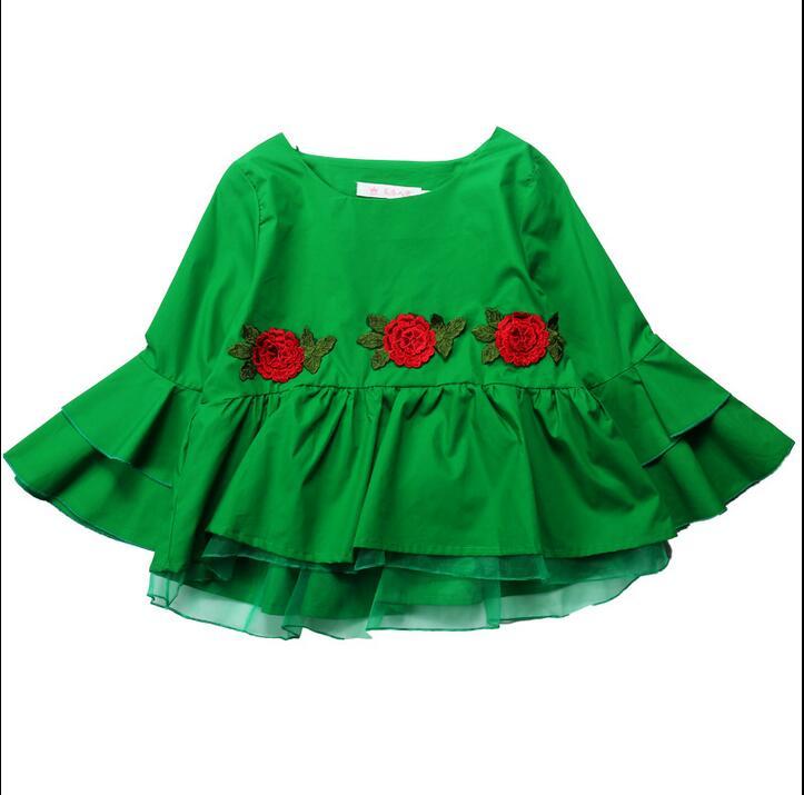 red Cena La Top Llegada Flor Casual Organza Black Sexy A186 L Amarillo De Tops Blusas Mujer yellow Camisas Escuela Bonita Nueva 2019 green Niñas Chicas aq6S6
