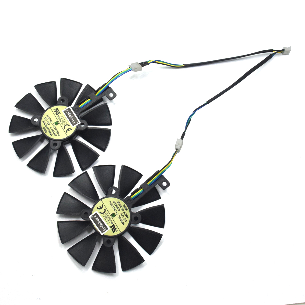 New 88MM T129215SU DC 12V 0.50A Cooler Fan For ASUS Strix GTX 1050 1060 1070 1080 GTX 970 RX 480 Graphics Card Cooling Fan laptop cooling fan for asus pu500ca fan