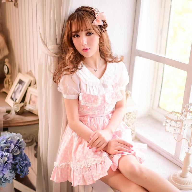 Princess sweet lolita shirt Candy rain Japanese style Summer Sweet peter pan collar embroidery chiffon shirt