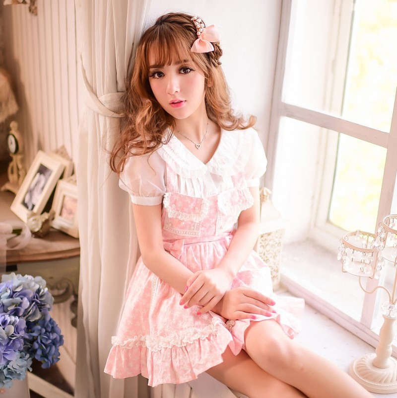 Princess sweet lolita shirt Candy rain Japanese style Summer Sweet peter pan collar embroidery chiffon shirt  C15AB5751-in Blouses & Shirts from Women's Clothing    1