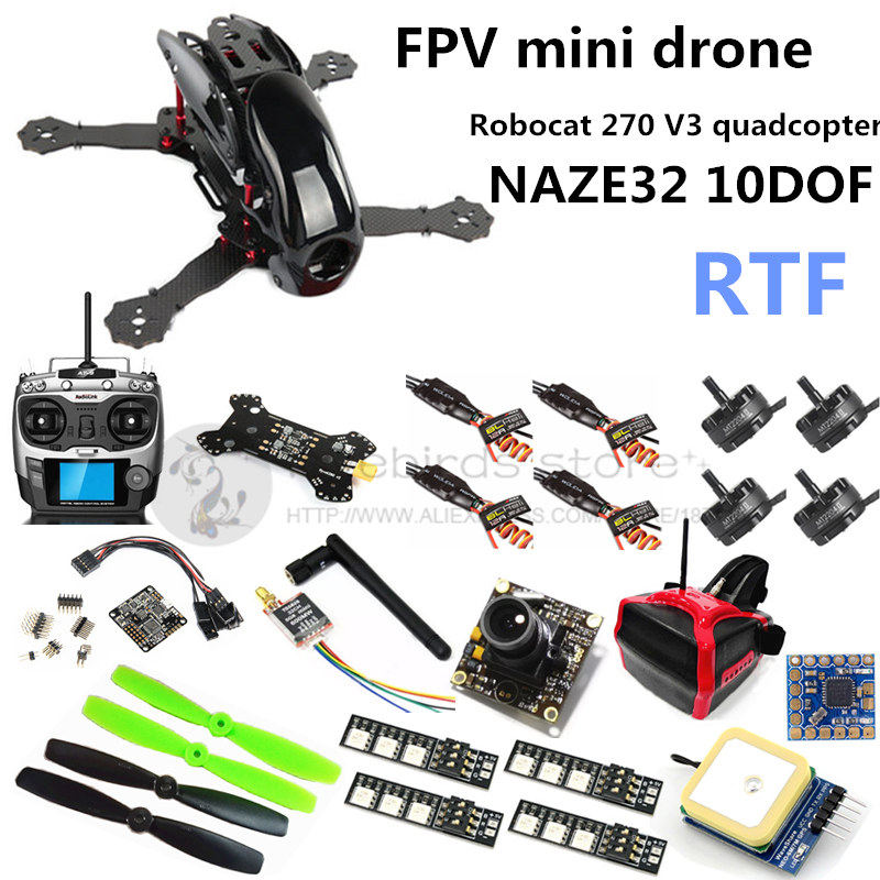 FPV mini drone with camera R270 NAZE32 10DOF + 2204II 2300KV motor +AT9 remote control + head display + 6M GPS & mini OSD RTF