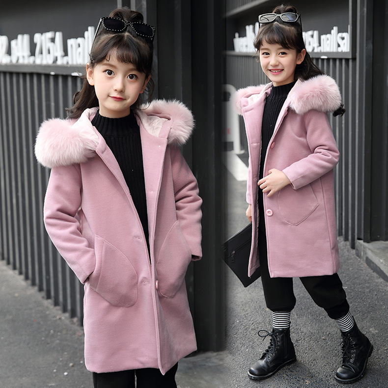 Thick Kids Clothes Baby Wool Long Coats for Girl 2018 Winter Cotton Fur Collar Girls Wool Outwear Sweet Children Clothing 3wb018 lavensey original new children thick cotton turn down collar fashion coats for girl baby clothing free shipping