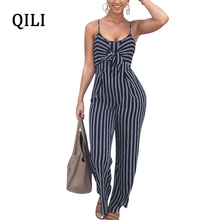 QILI Elegant Bow Hollow Out Jumpsuits Women Romper Striped Print Sleeveless Wide Leg Long Pants Jumpsuit Womens Overalls