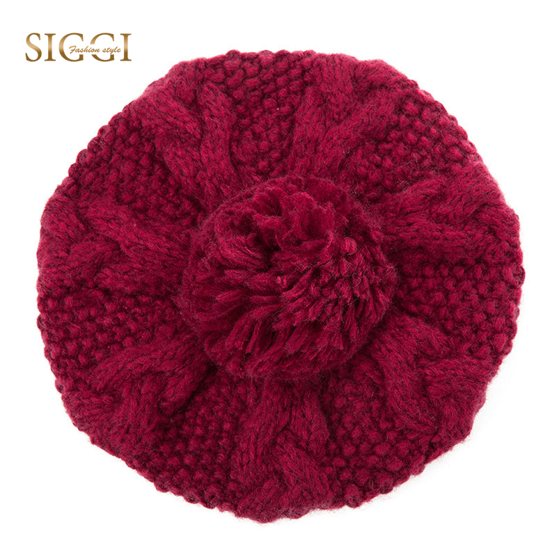 SIGGI Winter Women Beanies Skullies Pompom Cute Acrylic Wool Solid Knitted  Hats For Girls Youth Soft Warm Bonnets Female 88215 2be1a747d94
